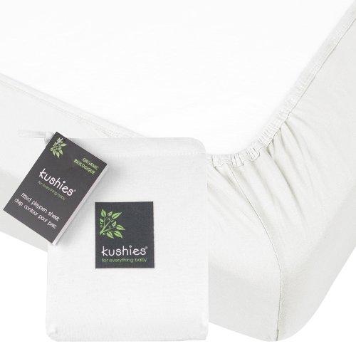 Kushies Organic Jersey Crib Fitted Sheet, White
