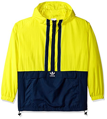 (adidas Originals Men's Authentics Anorak, Shock Yellow/Collegiate Navy, L)