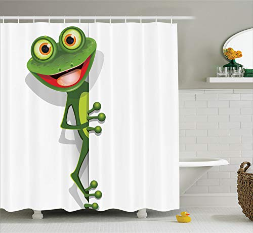(Ambesonne Cartoon Decor Collection, Jolly Frog with Greater Eye Lizard Gecko Smily Childish Funny Cartoon Artwork Print, Polyester Fabric Bathroom Shower Curtain Set with Hooks, Green Red)
