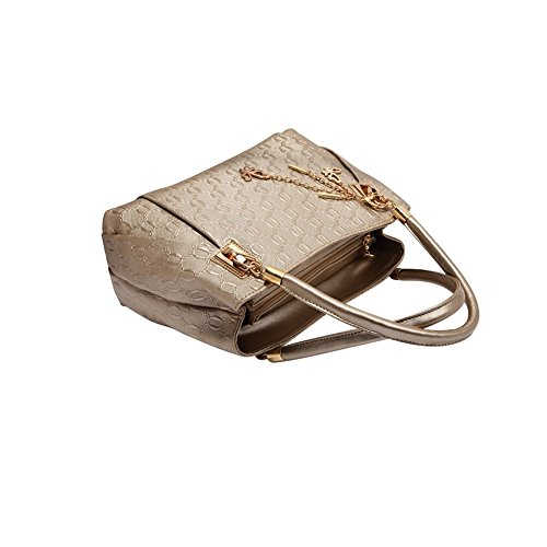 3en 1Mujeres Vintage Piel mano Bolsos de mujer set dorado