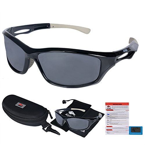 AVIMA BEST Unisex Polarized Tr90 Unbreakable Frame Sports Sunglasses for Running Baseball Cycling Fishing Volleyball Driving Skiing Golf Traveling (Black/Gray With Polarized Gray - Sunglasses Youth Costa
