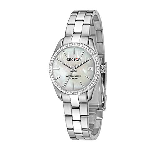 SECTOR Women's 240 Quartz Sport Watch with Stainless-Steel Strap, Silver, 16 (Model: R3253240506