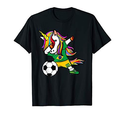 Dabbing Unicorn Brazil Soccer Jersey 2019 Brazilian Football T-Shirt