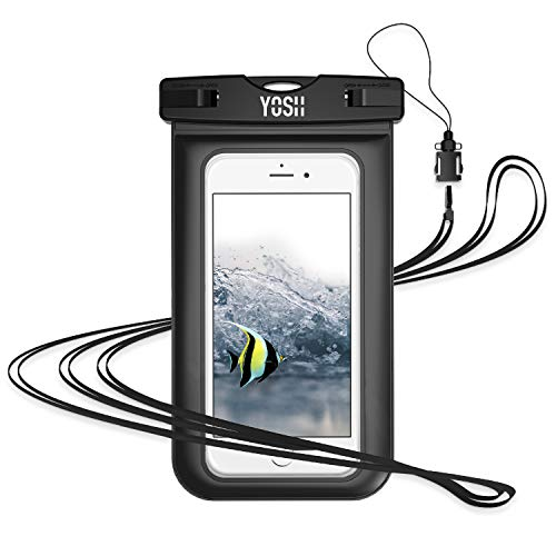 YOSH Waterproof Phone Pouch Waterproof Case Cell phone Dry Bag Underwater Pouch with Neck Strap Compatible iPhone X 8 7 6 6S Plus 5S 5C Galaxy S9 S8 S7 Edge Note 5 4 Google Pixel 2 up to 6.0″(Black)