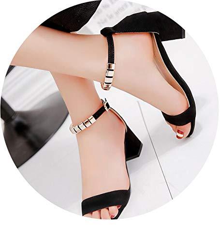 HANBINGPO Metal String Bead Summer Women Sandals Open Toe Shoes Women's Sandles Square Heel Women Shoes Korean Style Gladiator Shoes ()
