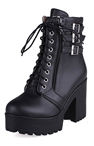 YE Womens Autumn Winter High Heels Platform Lace up Block Heel Buckle Ankle Boots Shoes Black RrUQn