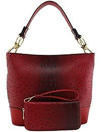 2 PC Set Ostrich Hobo Shoulder Bag with Big Snap Hook and Wallet
