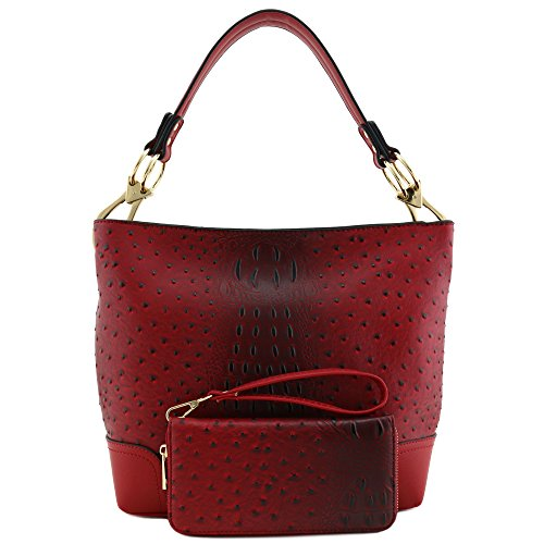 2 PC Set Ostrich Hobo Shoulder Bag with Big Snap Hook and Wallet Red by Alyssa
