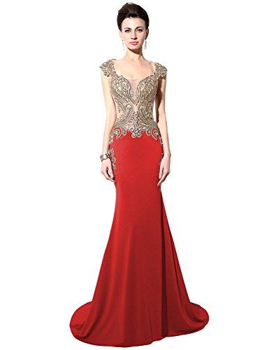 Sarahbridal Women's Rhinestone Long Lace Formal Mermaid Evening Prom Dresses Red US2