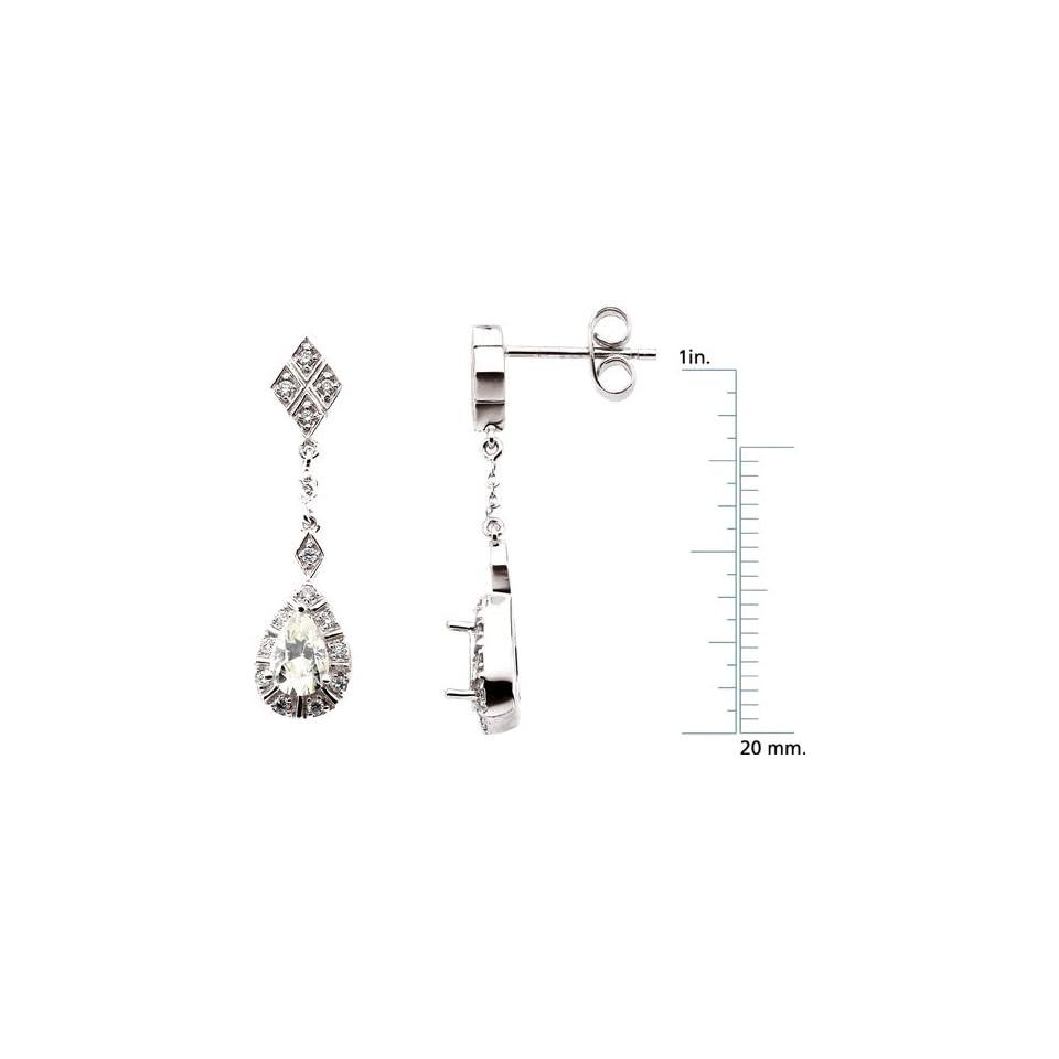 14 karat white gold Moissanite & Diamond Earrings