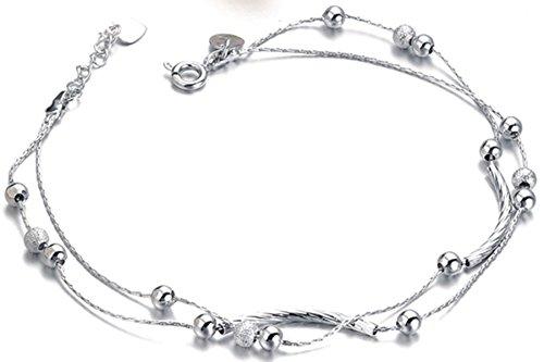 """Women's 316L Stainless Steel Beaded Slide Chain Anklet Bracelet,10.14"""" (c-silver)"""