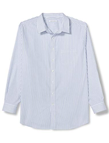 (Amazon Essentials Men's Big & Tall Wrinkle-Resistant Long-Sleeve Pattern Dress Shirt, White/Blue Stripe, 18.5