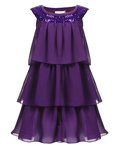 Arshiner New Kids Girl Sleeveless Sequins Multi Layers Chiffon Pullover Cute Dress, Purple, 130 (Age for 6-7 Years)