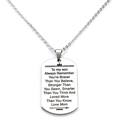 Stainless Steel Dog Tag Letters To my son....love mom Pendant Necklace,Inspirational Gifts For Son Jewelry