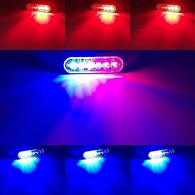 DIBMS LED Emergency Strobe Lights, 8x Red Blue 6 LED Strobe Warning Emergency Flashing Light Caution Construction Hazard Light Bar For Car Truck Van Off Road Vehicle ATV SUV Surface Mount: Automotive