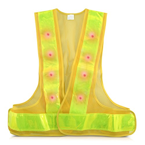Reflective Flashing Led (kwmobile LED Light Safety Vest - 360° High Visibility Traffic Outdoor Night Warning Reflector Clothing with Reflective Stripes and 16 LED Lights)