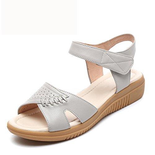 Sandalias Zapatos Pacientes De Antideslizante En gray Blanda Con El Avanzada De De KPHY Fondo Suela Plano Suave Mamá Edad Mujeres Verano Fondo Indica x40YwxCq