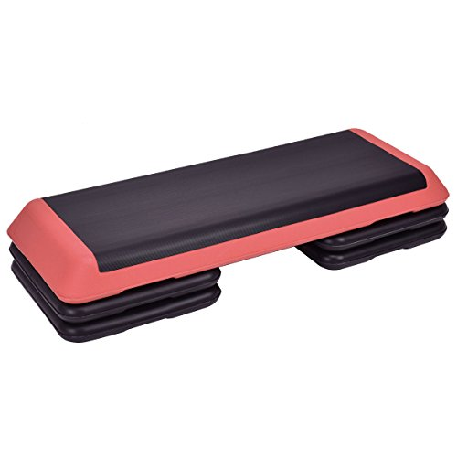 Goplus 43 Adjustable Fitness Aerobic Step Stepper Platform 4 - 6 - 8 Non-Stick Surface W/Risers (Red)
