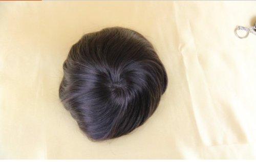 DaJun Hair 6A Hair Pieces Mono Base Men's Toupee Indian soft 6inch human hair, Straight 7