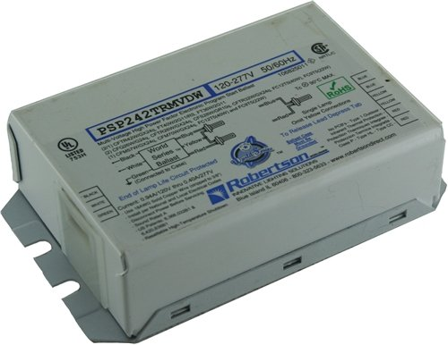- ROBERTSON 3P20146 Individual Fluorescent eBallast, 2 CFTR42W/GX24q CFL Lamp, Program Start, 120-277Vac, 50-60Hz, Normal Ballast Factor, HPF, Model PSP242TRMVDW ST (Replaces PSP242TRMVDW /S)