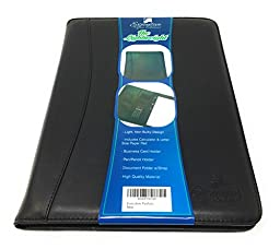 Business Padfolio Portfolio Professional Executive Organizer w/Calculator - Light Weight Black Synthetic Leather