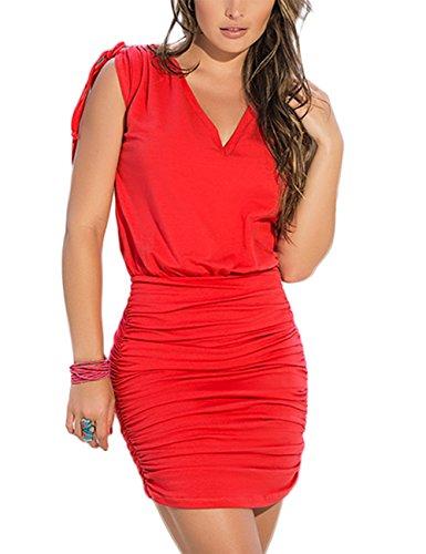 Di V Yiwa Sottile Solido Piega Sexy Vestito Nero Vestito Colore Aderente Collare RRqwp7