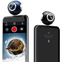 UBCTECH 360 Degree Panoramic Camera Dual Spherical Fisheye HD Mini Panorama View Video Recorder Real Time Seamless Stitching for Android Smartphone-Black