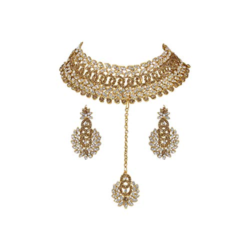 Jewelry Indian Fashion - CROWN JEWEL Bollywood Ethnic Gold Plated Indian Fashion Bridal Jewelry Necklace Earring Set for Women
