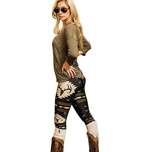 GBSELL Women Bull Arrows Printed Stretchy Pants Leggings Sport Casual (Black, L)