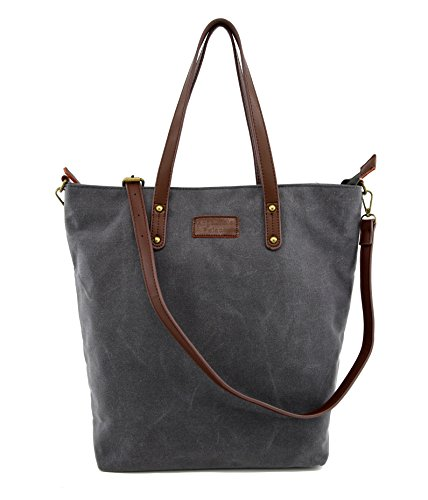 Angelina's Palace Hand Made Wax Canvas Leather Shoulder Bag Waterproof Tote Bag Metal zipper Handbag (taupe)