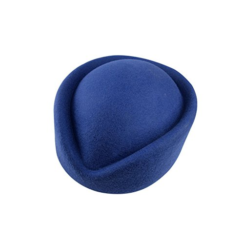 YING LAN Wool Cap Stewardess Pillbox Hat Teardrop Fascinator Base Sweet Navy -