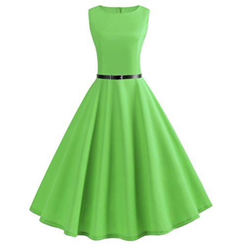 iYYVV Women Vintage Sleeveless O Neck Evening Vintage Gown Party Prom Swing Dress