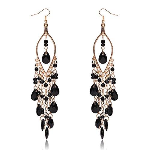 Big Long Dangle Ebony Black Chandelier Drop Shoulder Duster Earrings