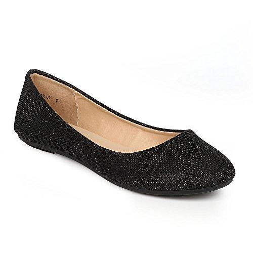 Women's Shiny Glitter Ballet Flats Slip on Dress Ballerina Sparkle Wedding Shoes Black 10 (Womens Flat Dress Shoes)