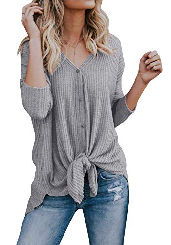 Imily Bela Womens Waffle Knit Tunic Blouse Tie Knot Henley Tops Bat Wing Plain Shirts (X-Large, - Knit Side Tie Top