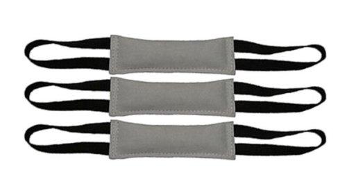 Bundle of 3 Premium Leather Bite Tug Toy 2 Handle 3'' X 12'' Redline K9