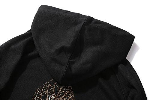 Hombre Deportiva Larga Top Casual Negro Blusa Capucha Manga Camiseta Sudaderas Con wPfqUUR