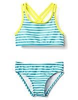 Gymboree Girls' Little 3-Piece Rashguard/Bikini Set, Laser Blue, M