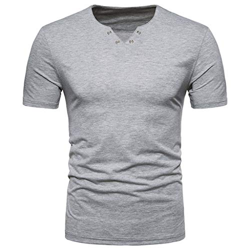 Sunhusing Men's Casual European-American Style Personality Button Hole V-Neck Short Sleeve T-Shirt Tops Gray ()