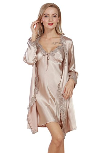 e1f951c8f48 Ifeverlove Women s Silk Satin Robe Solid Two Piece Suit Sleepwear Nightgown  (XL