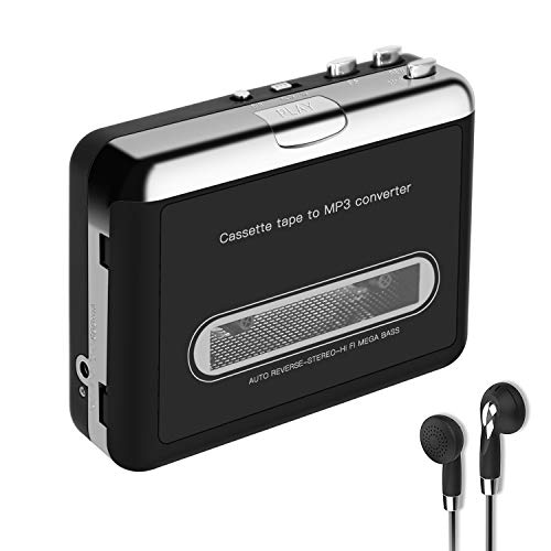 Upgrade Cassette Player, Portable Walkman Cassette Tape Player Recorder to MP3 Converter CD Music Tapes Recorder Via USB Compatible with Laptops & PC with Earphones