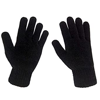 LETHMIK Mens Winter Thick Gloves Black Knit with Warm Wool