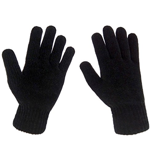 LETHMIK Mens Winter Thick Black Knit Gloves with Warm Wool Lining