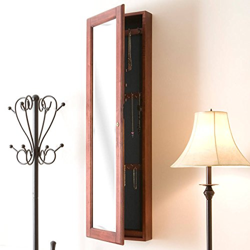 Vista Wall Mount Jewelry Armoire Cherry, Ready to hang, dual benefits of a jewelry cabinet and a mirror. store a wide variety of jewelry, with assorted hooks, lots of storage 4.3''Lx 14.5''Wx 48.3''H by VSA