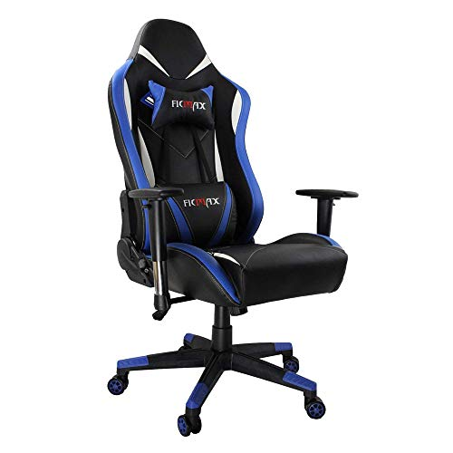 Ficmax Ergonomic Racing Style Gaming Chair High-Back Computer PC Swivel Seat with Massage Lumbar Support and Headrest Pillow - Blue/Black Aosom LLC