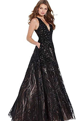 (Jovani - JVN60641 Embellished Plunging A-Line Evening Gown Black/Nude)
