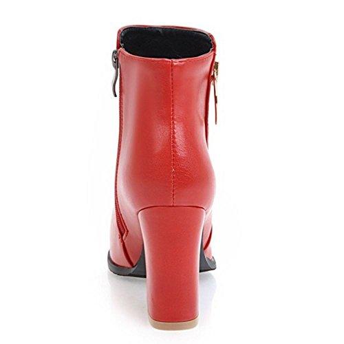 COOLCEPT Damen Mode Street Blockabsatz High Heel Zip Kleid Stiefel Red