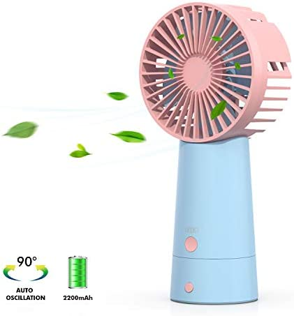 GEGEi Mini Oscillating Fan for Desk, USB Rechargeable Table Cooling Fan, Personal Portable Handheld Fan, 3 Settings, Ideal for Home Office and Outdoor Light Blue