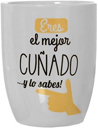 Taza de desayuno para cuñados,Medidas: 8,5x10cm,Material: cerámica,Fondo blanco