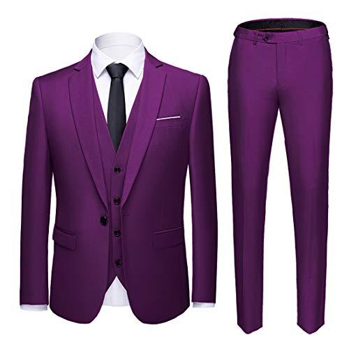 MY'S Men's Suit Slim Fit One Button 3-Piece Suit Blazer Dress Business Wedding Party Jacket Vest & Pants Deep Purple